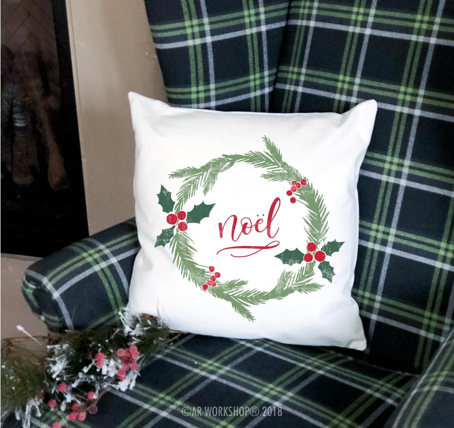 noel christmas wreath pillow