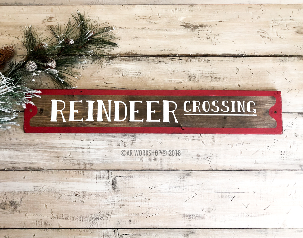 Reindeer Crossing Street Sign 6x32