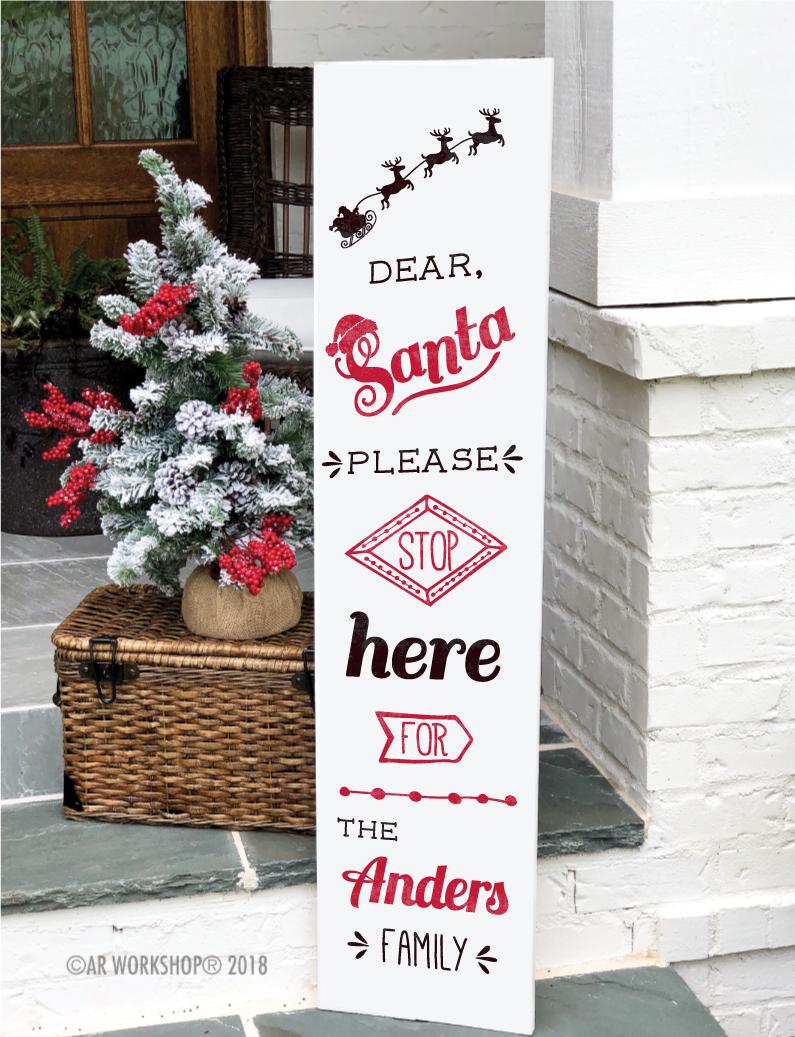 santa stop here porch sign 12x48