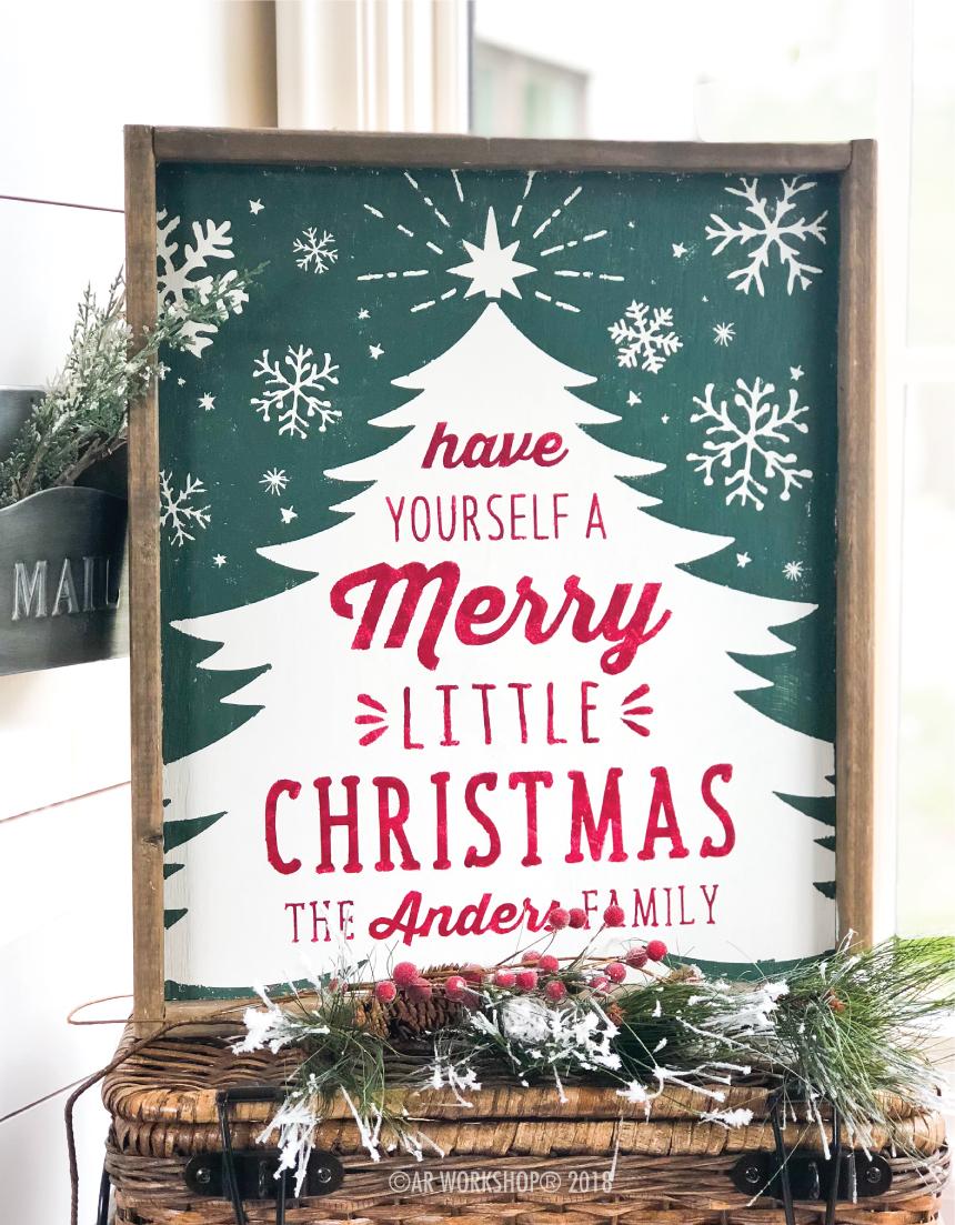 tree merry little christmas family framed sign 18x21