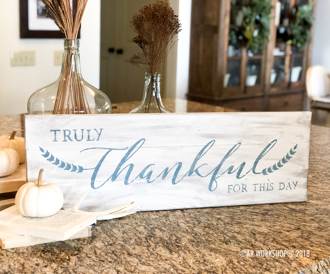 Truly Thankful for this Day plank sign 10.5x32
