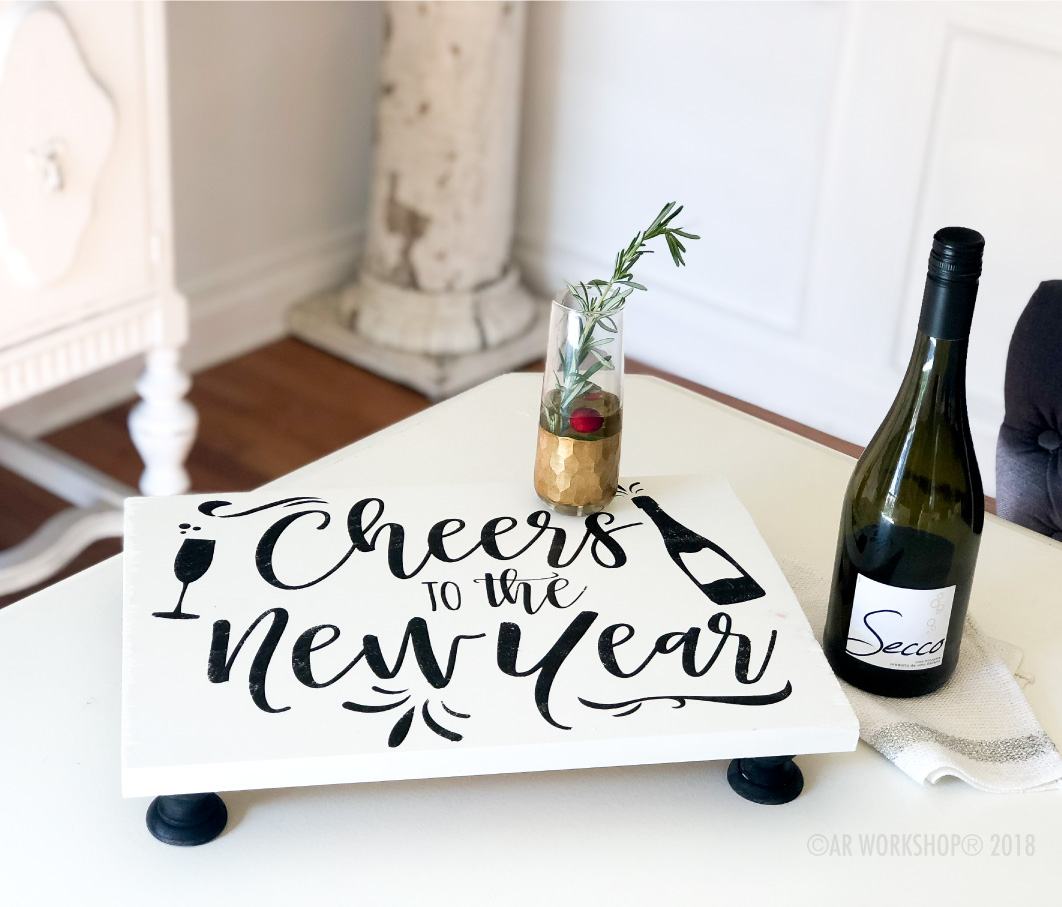 cheers to the new year pedestal tray 12x16