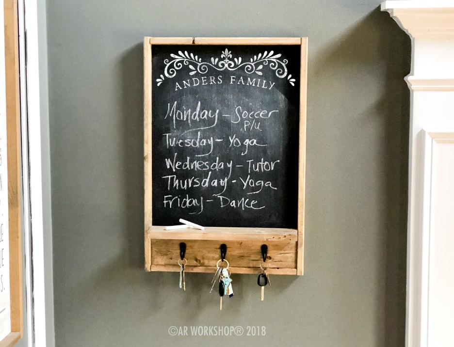 family flourish chalkboard organizer