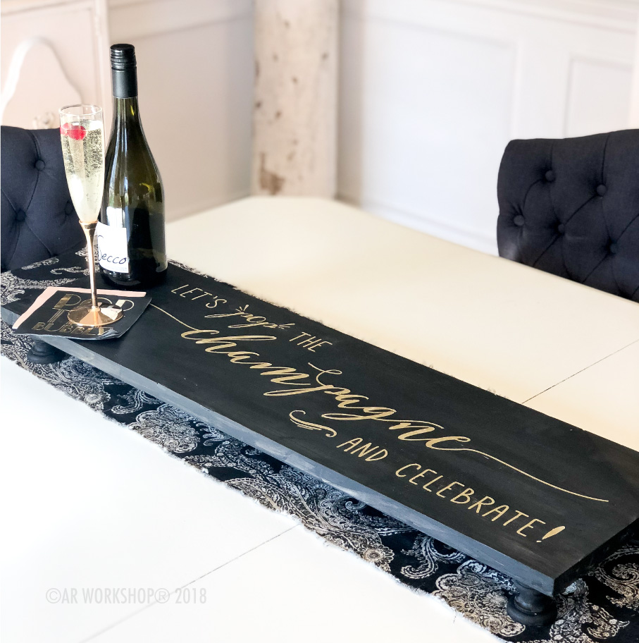 let's pop the champagne pedestal tray 10.5x32