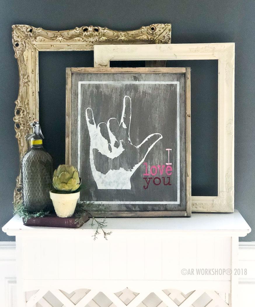 sign language i love you framed wood sign 18x21