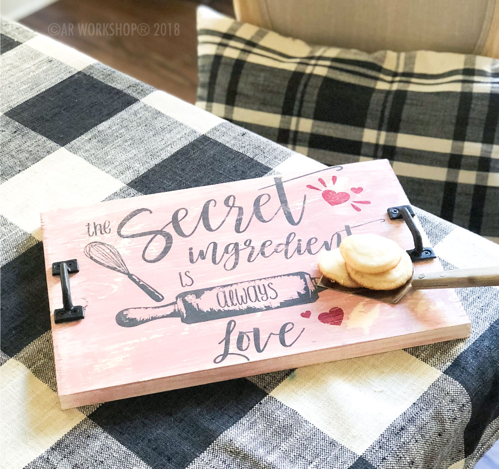 The Secret Ingredient is Always Love plank 12x16 tray