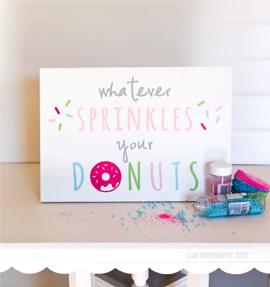 donut sprinkles youth plank sign 12x16