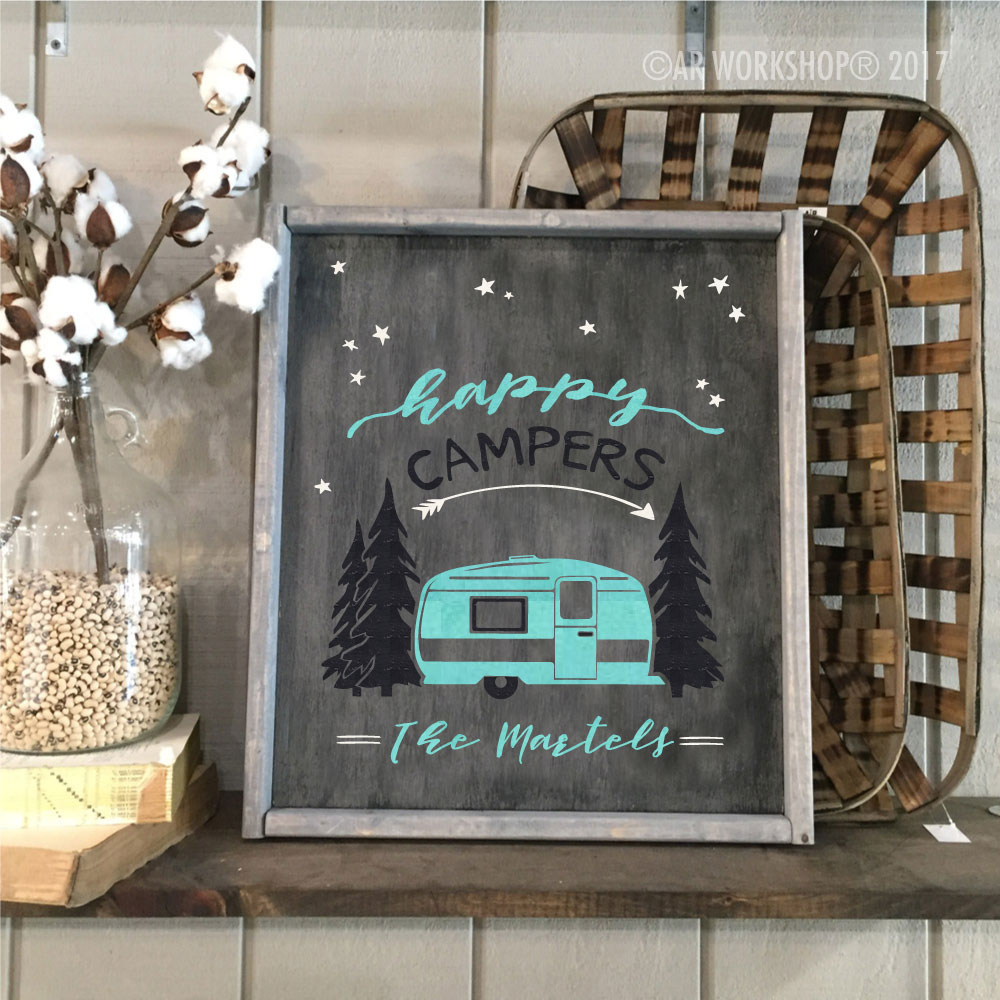 happy campers family name framed sign 18x21