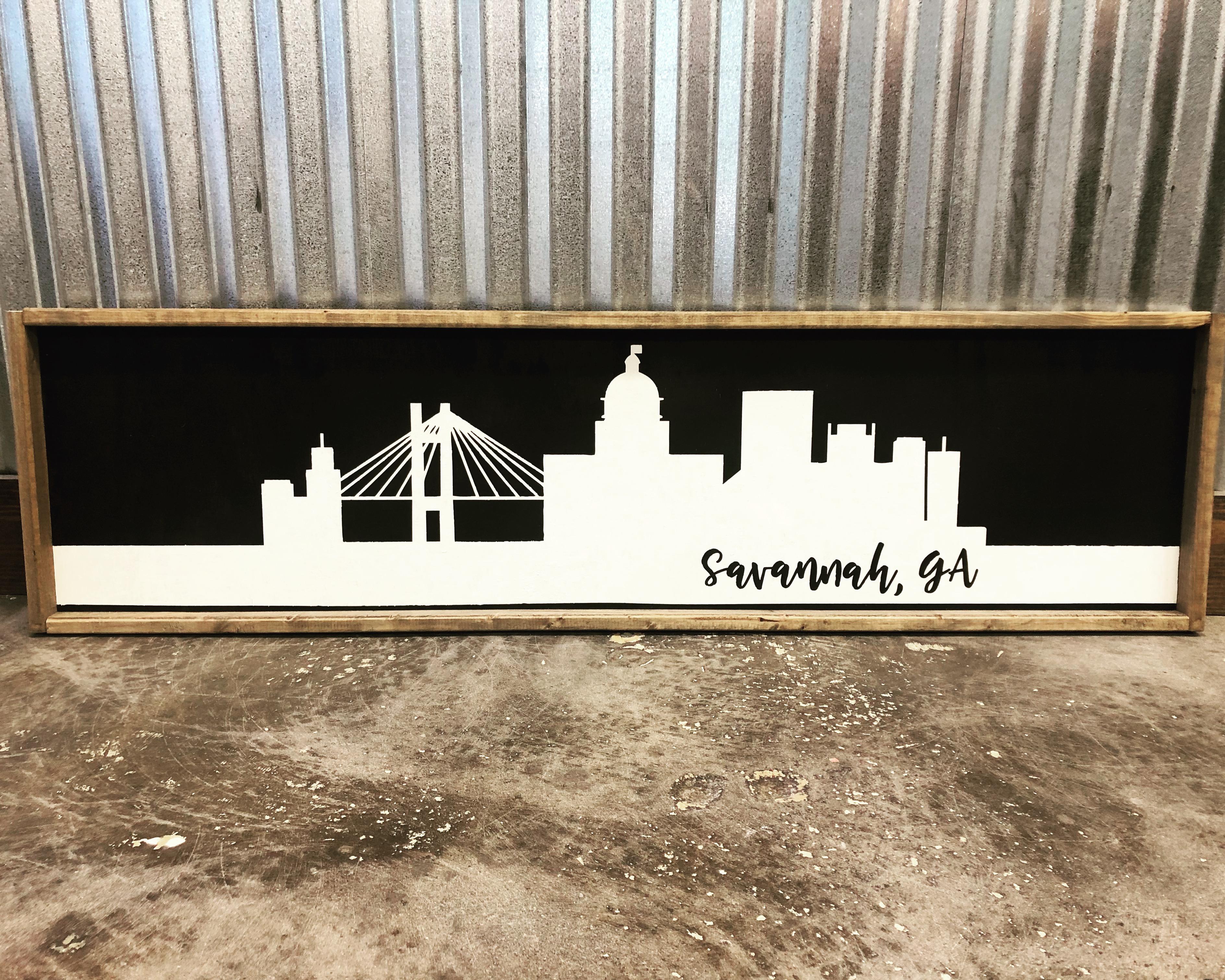 city skyline - savannah framed sign 14x34