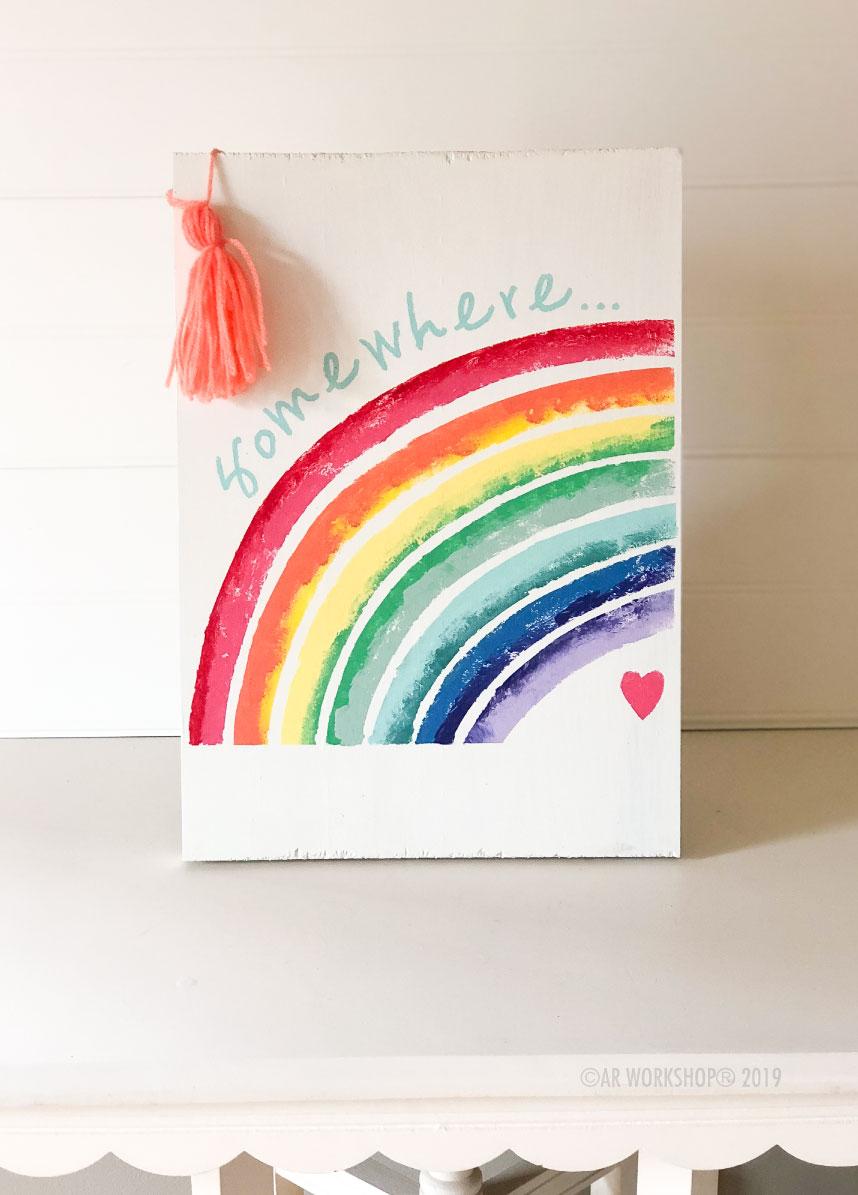 somewhere rainbow plank sign 121x6