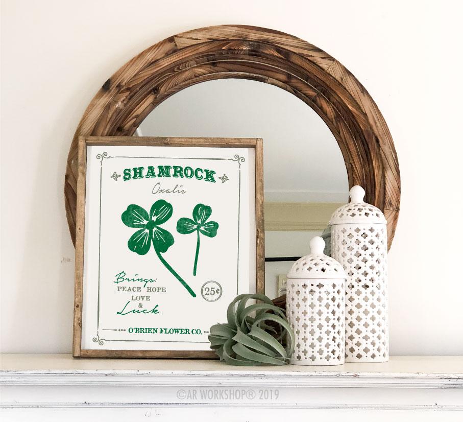 shamrock floral framed sign 18x21