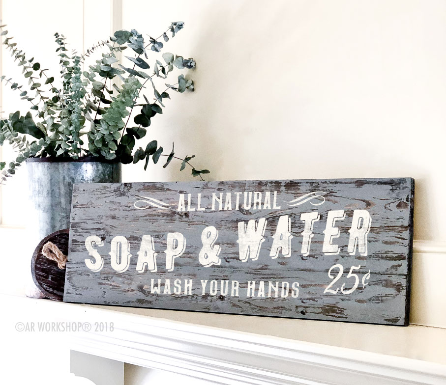 soap and water wash your hands plank sign 10.5x32