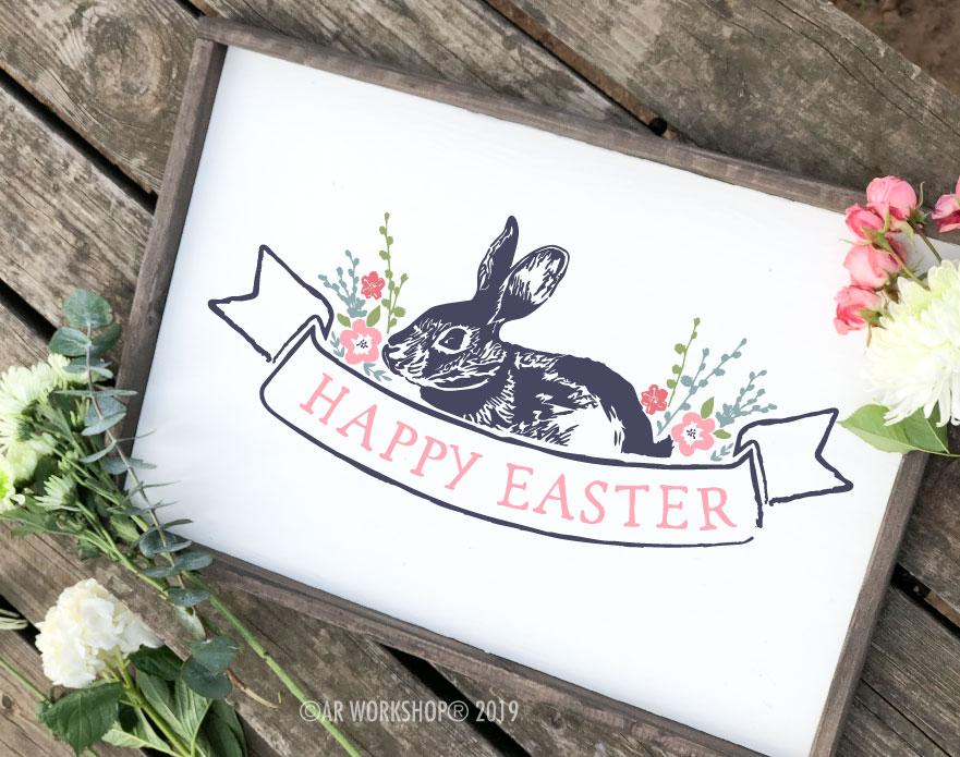 Vintage Happy Easter framed sign 18x26
