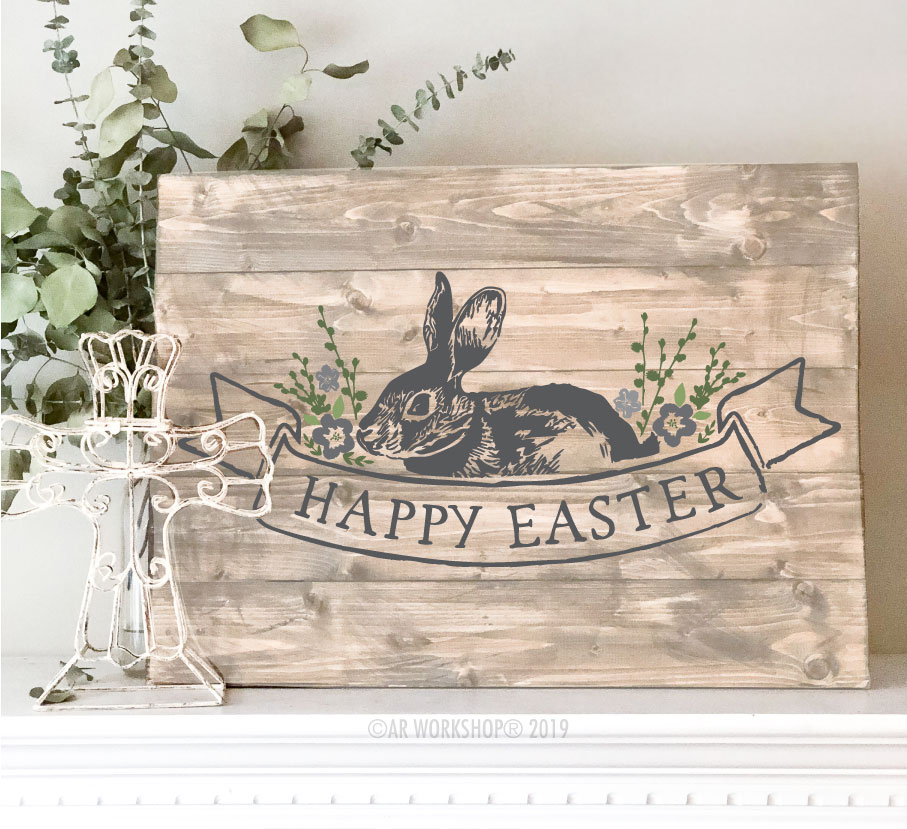 Vintage Happy Easter plank sign 17.5x24