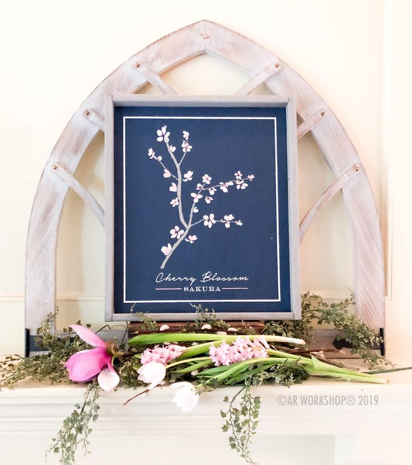Cherry Blossom Botanical Framed Sign 18x21