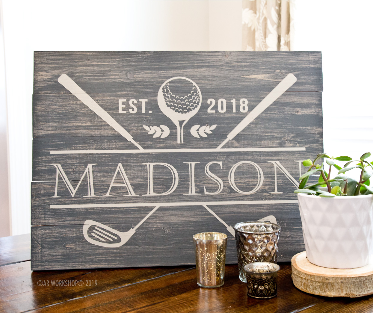 Golf Clubs Established Plank Sign 17.5x24