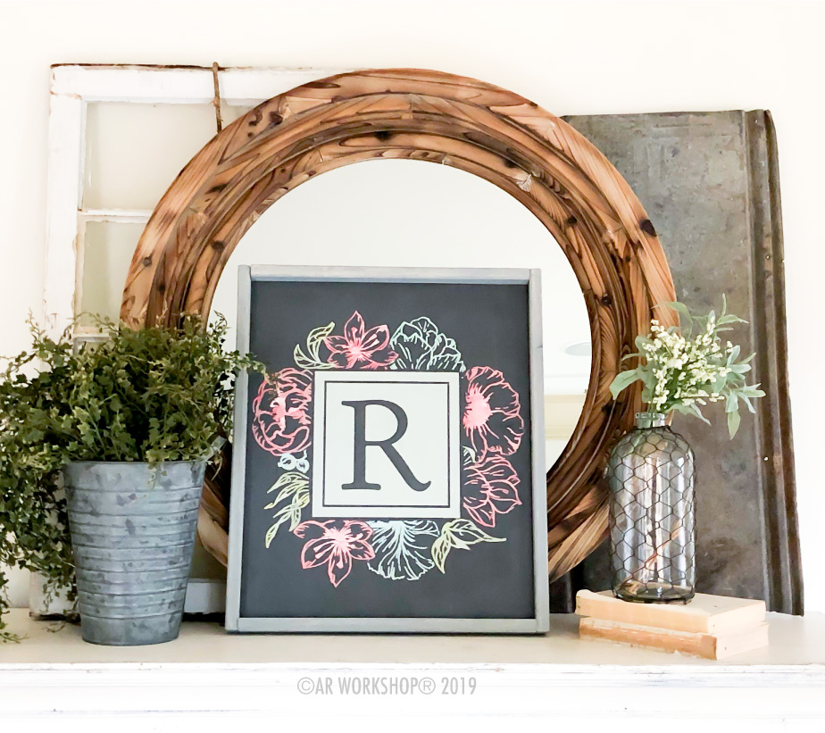 Initial Square Floral Framed Sign 18x21