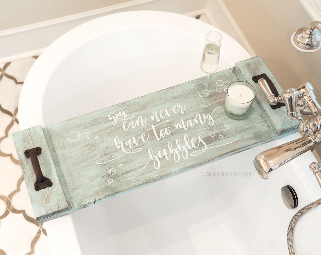 You Can Never Have Too Many Bubbles - Solid Plank Tray 12x32