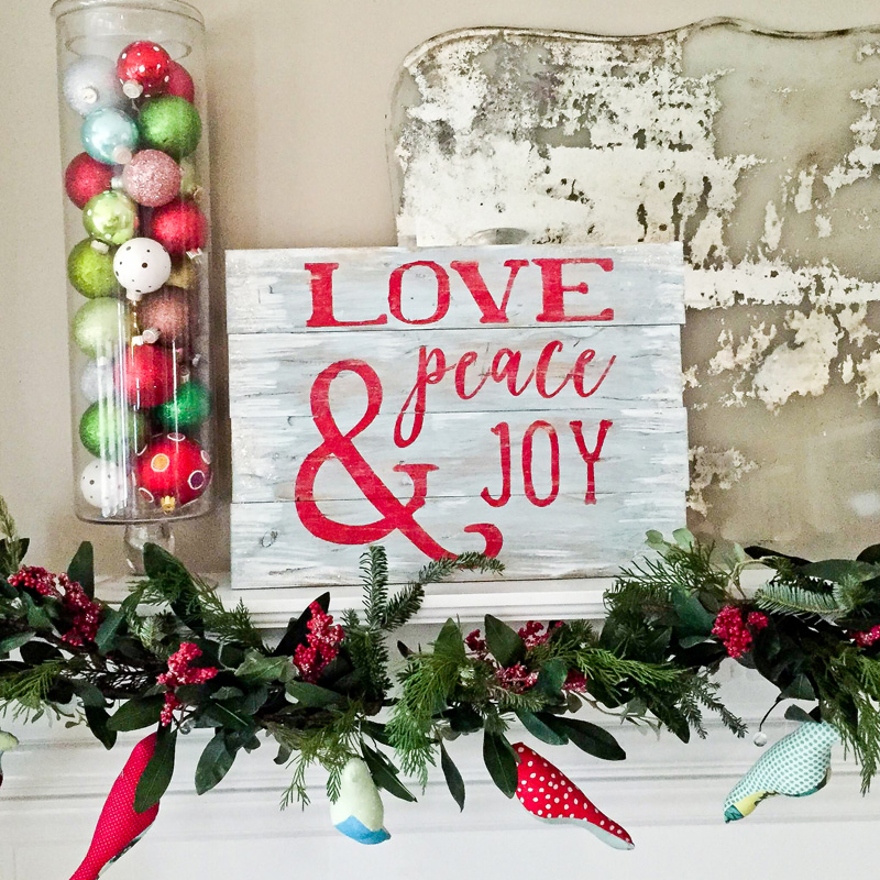 love peace and joy sign plank christmas