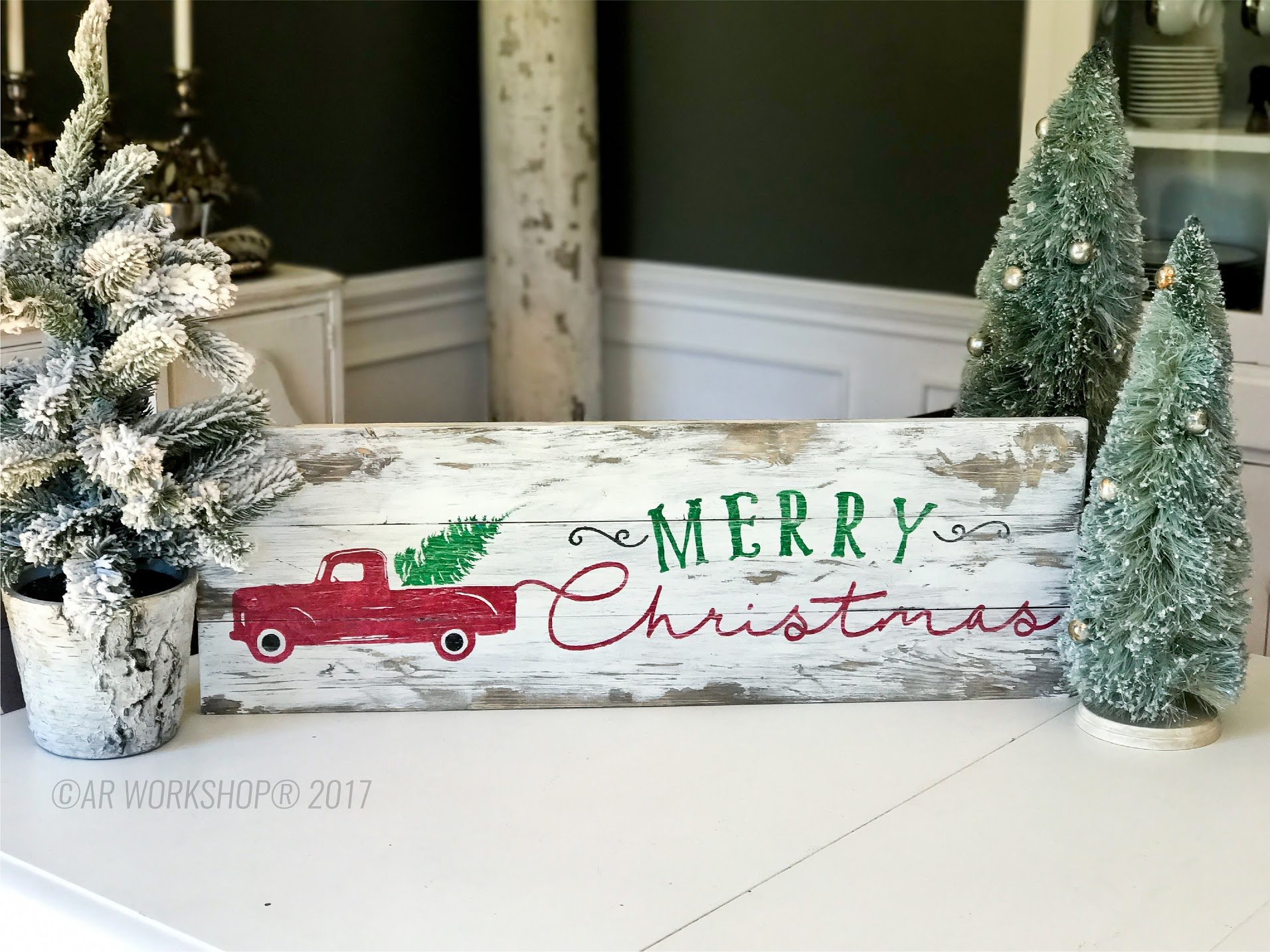merry christmas truck plank wood sign vintage