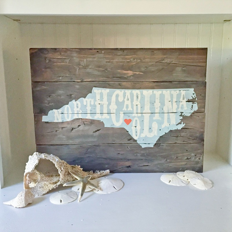north carolina home sign plank