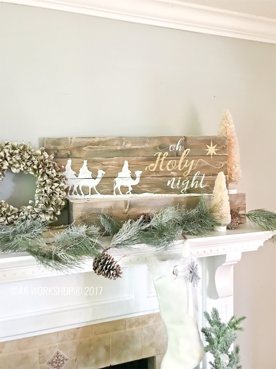 oh holy night plank wood sign christmas