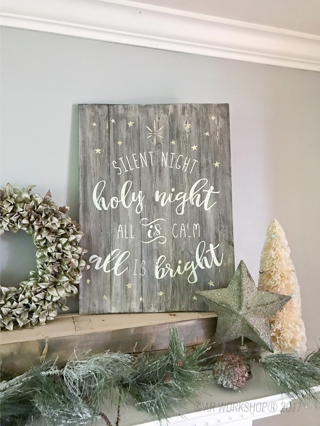 silent night holy night plank wood sign diy christmas
