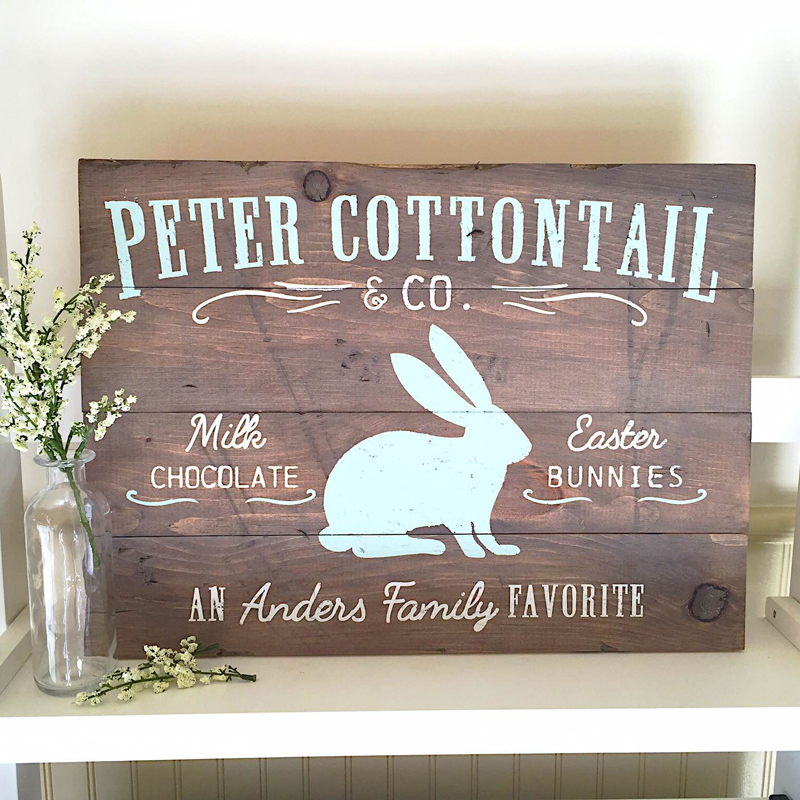 Vintage Peter Cottontail Sign plank