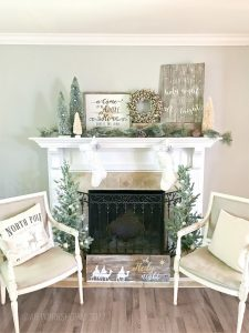 vintage holiday mantle wood sign