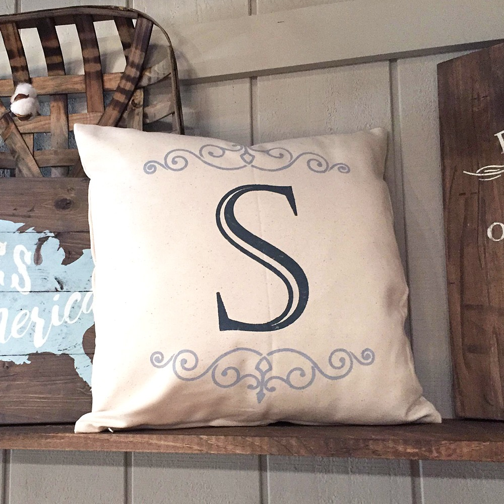 flourish monogram pillow