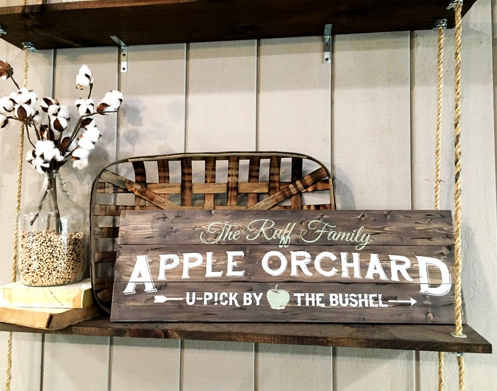 vintage apple orchard sign ar workshop plank