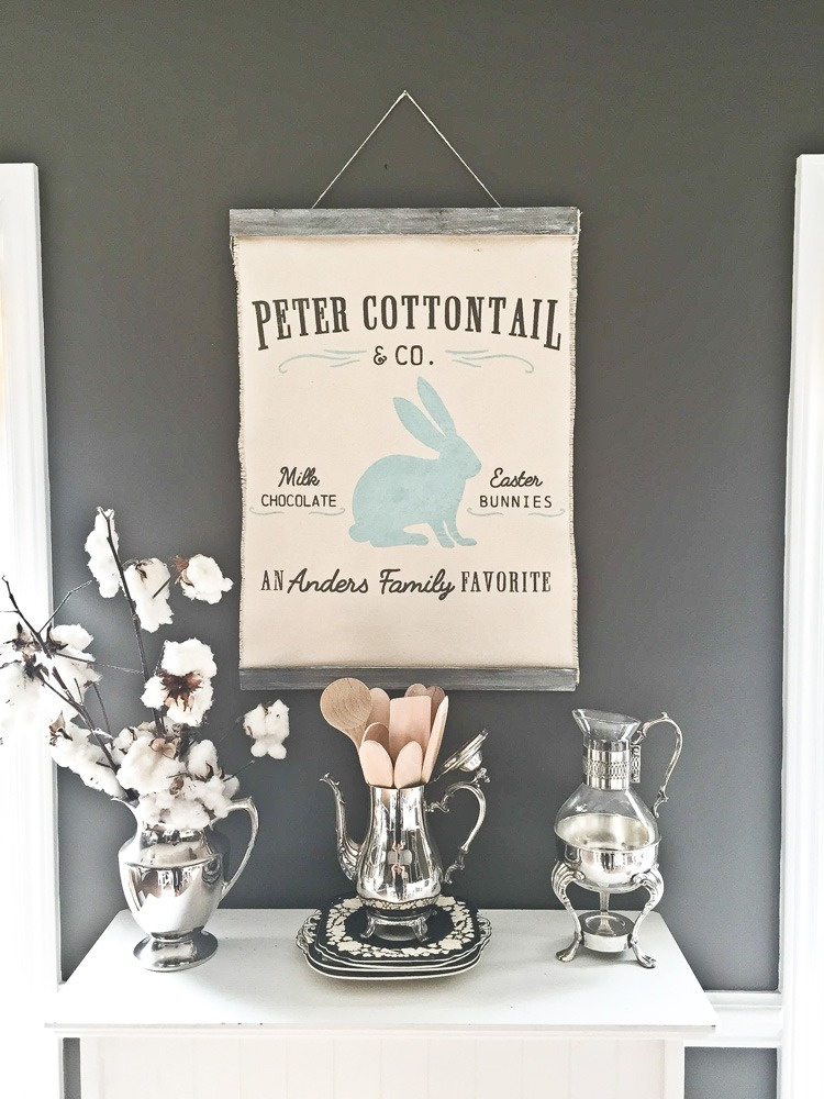 Vintage Peter Cottontail and Co. canvas wall hanging