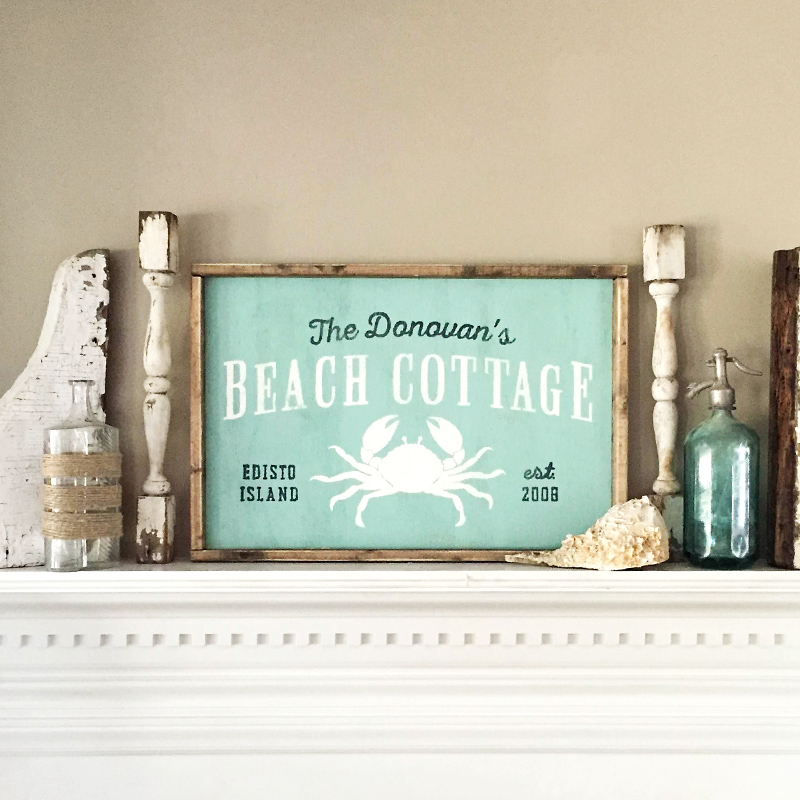 wood cottage sign