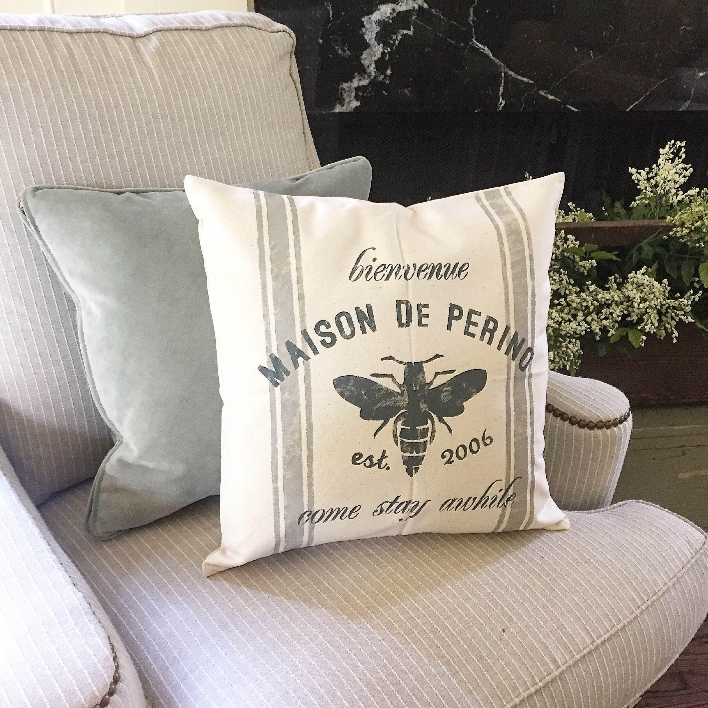 french come stay awhile pillow