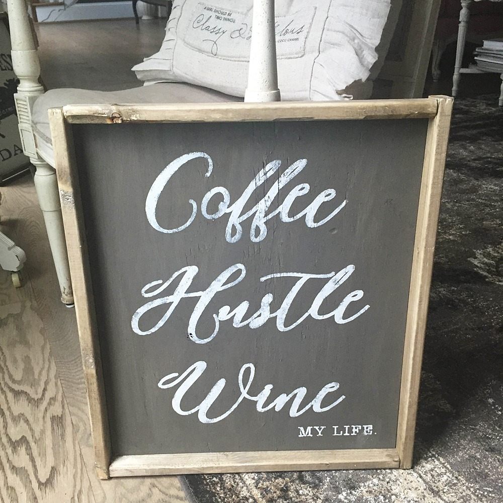 ARW Framed Coffee Hustle Wine sign