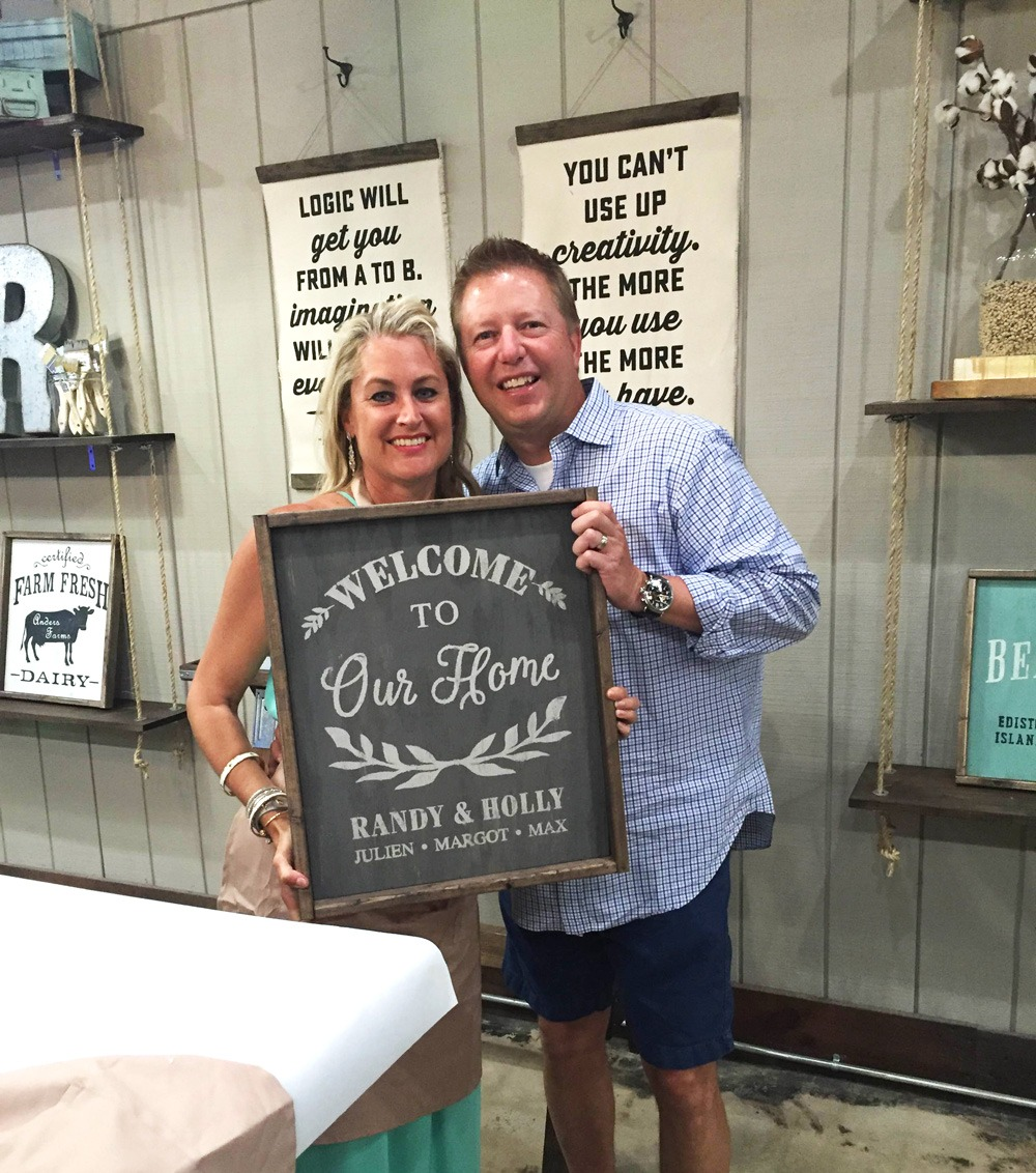 date night wine and wood sign making workshop