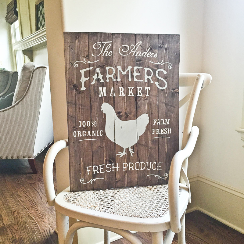 farmers market wood sign plank