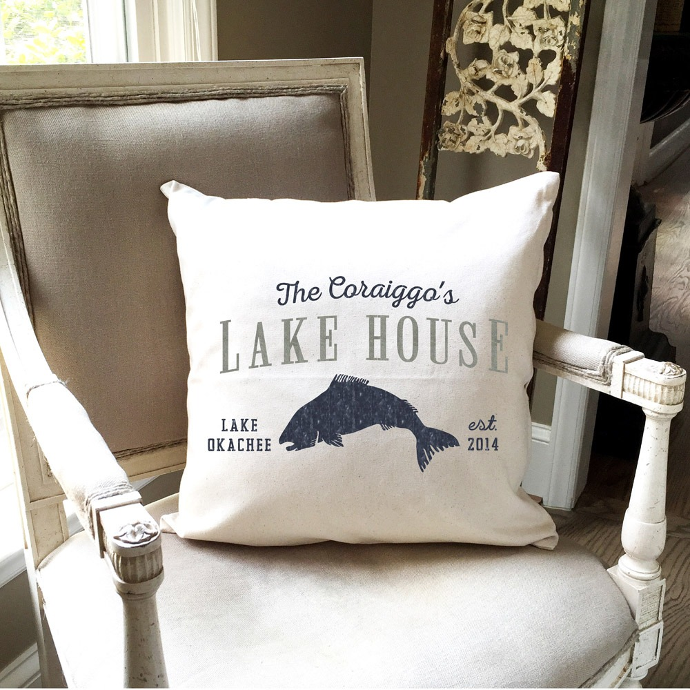 fish lake house pillow
