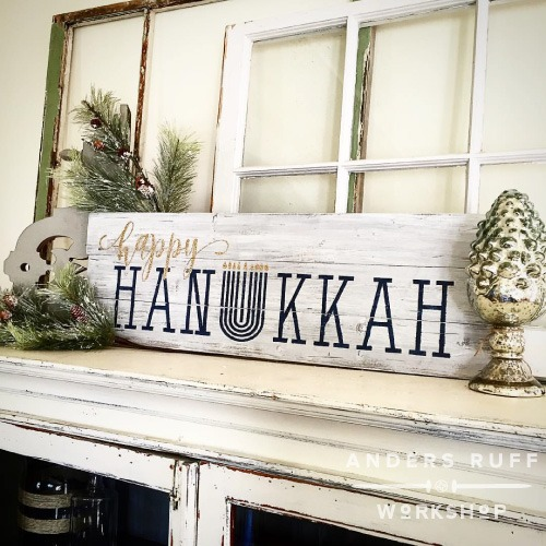 happy hanukkah wood sign ar workshop plank