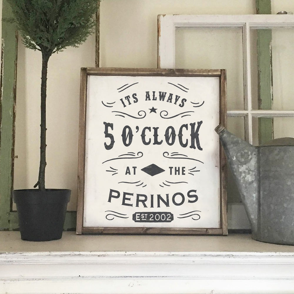 5 oclock wooden bar sign