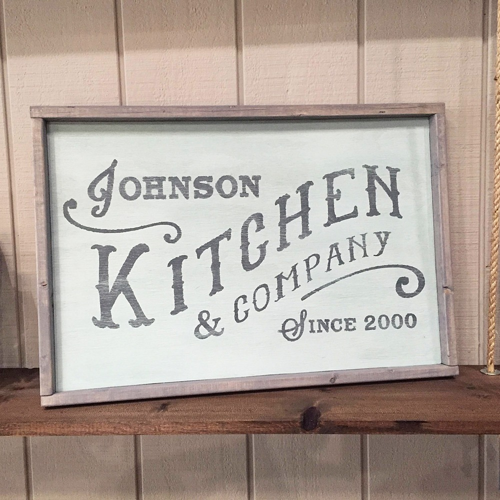 wood kitchen sign framed