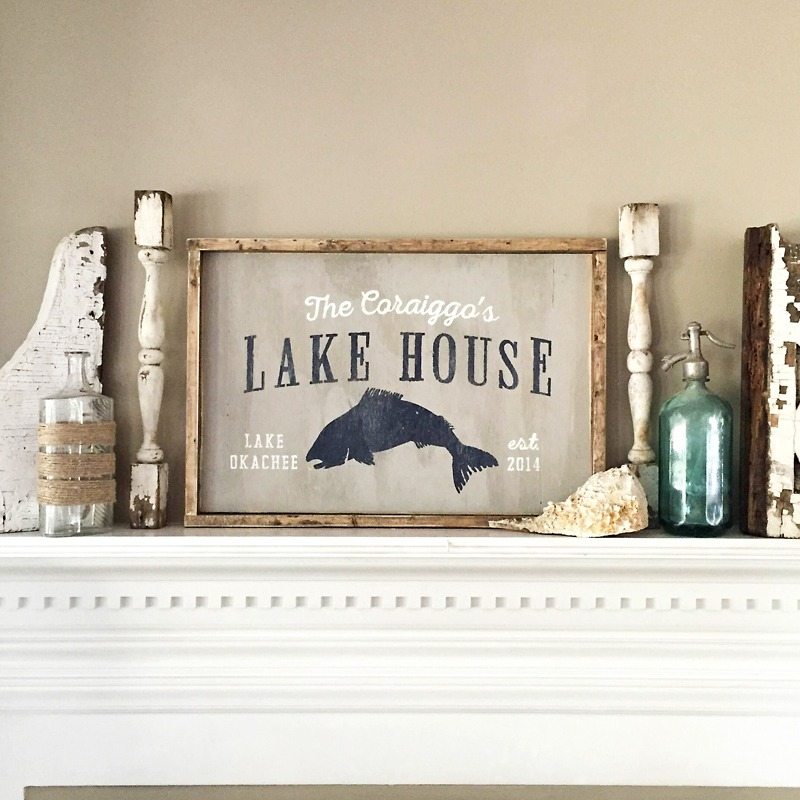 wooden Lake house sign