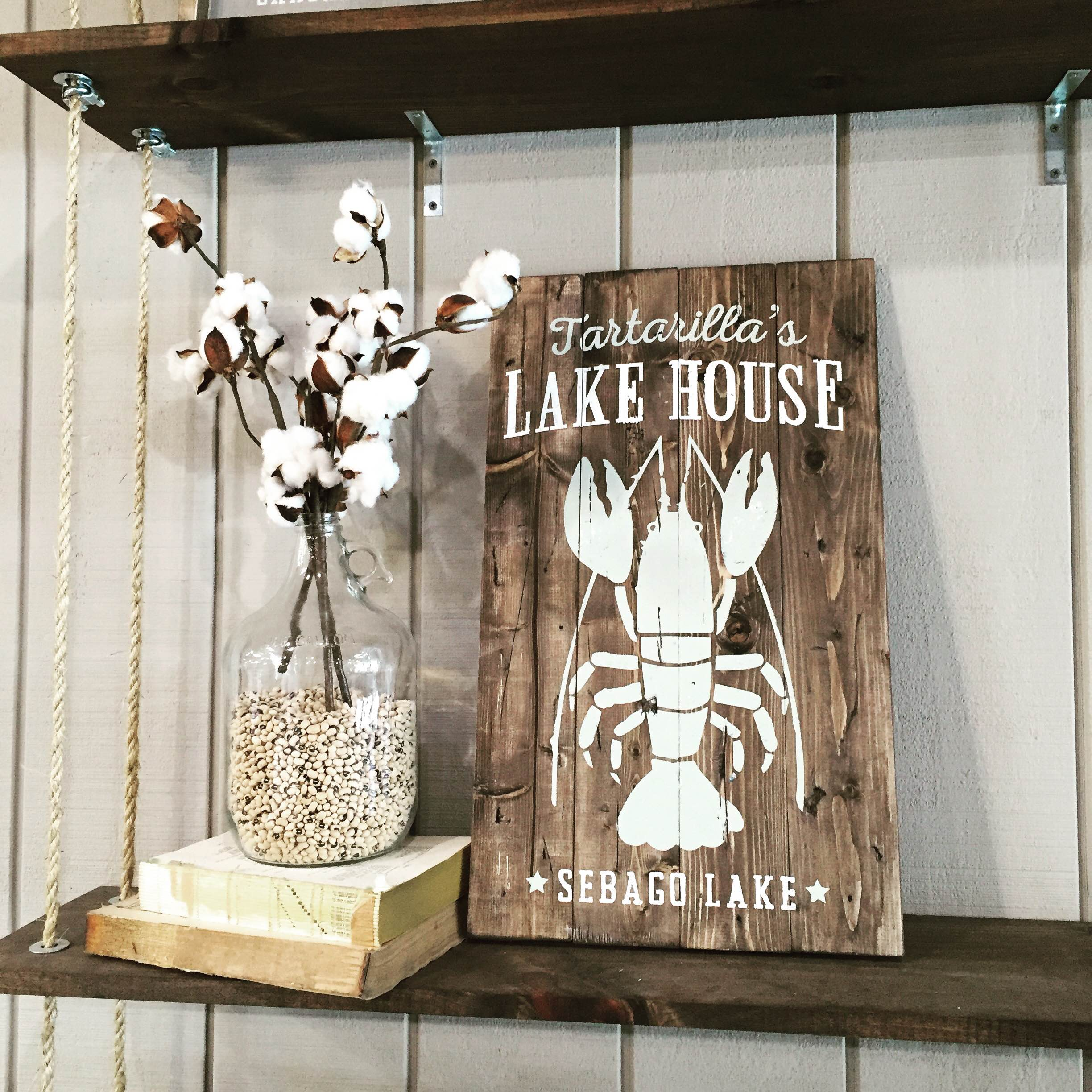 Lake house wood sign ar workshop plank