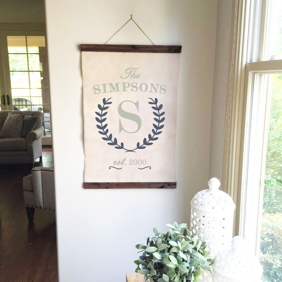 laurel wreath monogram sign