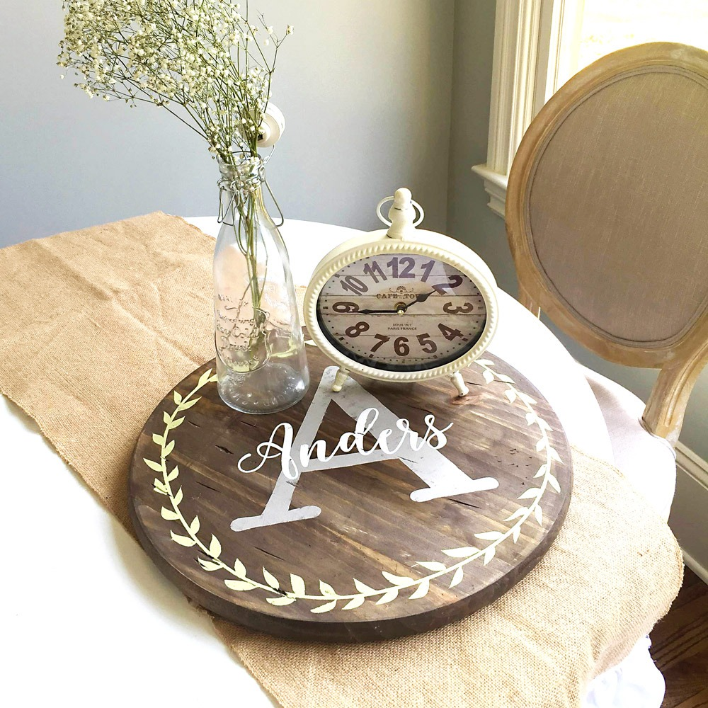 Monogram wood lazy susan