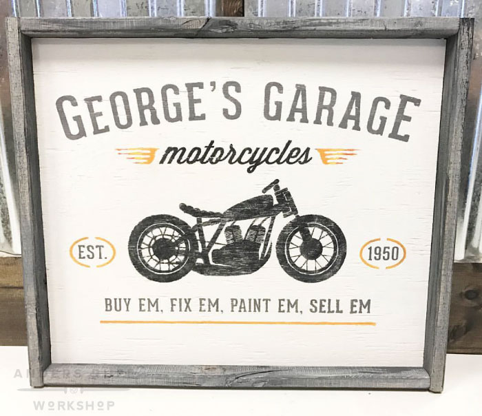 vintage motorcycle wood sign ar workshop