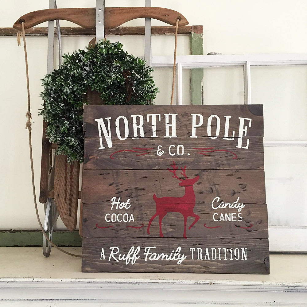 vintage north pole wooden sign ar workshop christmas plank