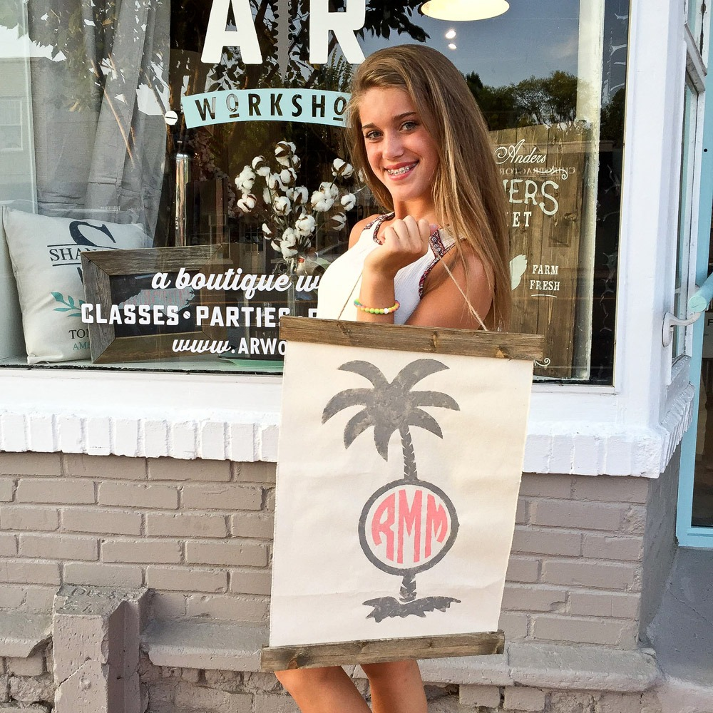 monogrammed palm tree sign