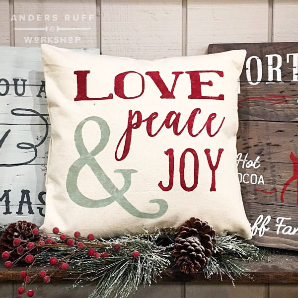ar workshop peace love joy christmas pillow