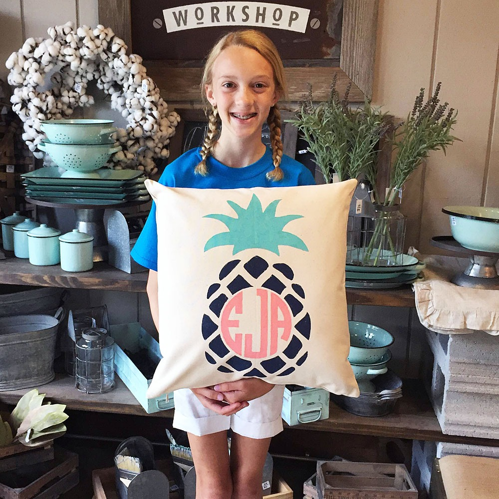 Pineapple monogrammed pillow